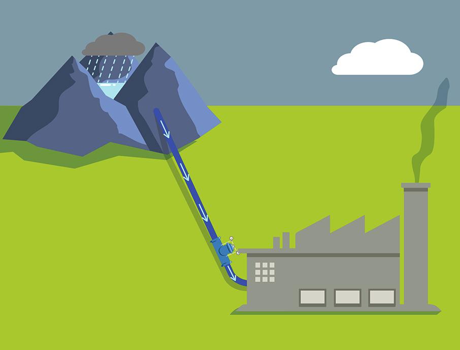 Beperking van verbruikt water uit bergreservoir