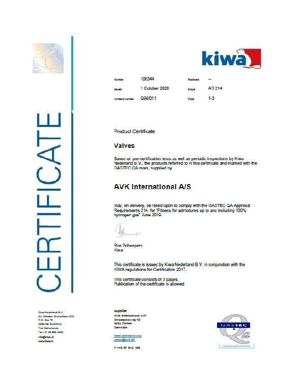 KIWA certificaat gasafsluiters geschikt waterstof